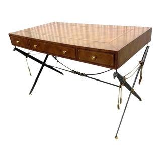 Vintage Maitland Smith Saber and Tassel X Base Leather Top Desk For Sale