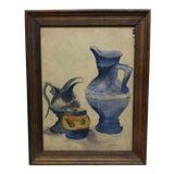 "Image of Vintage Mid-Century M. Graven ""Pouring Pots"" Watercolor Painting For Sale"