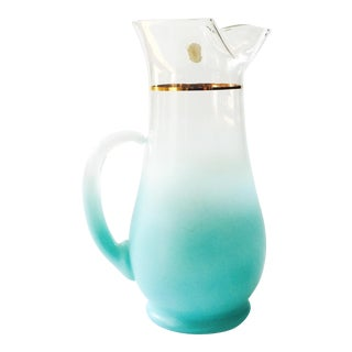 Vintage Blendo Aqua Glass Pitcher
