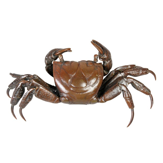 Late 19th Century Japanese Meiji Articulated Bronze Crab For Sale - Image 5 of 10