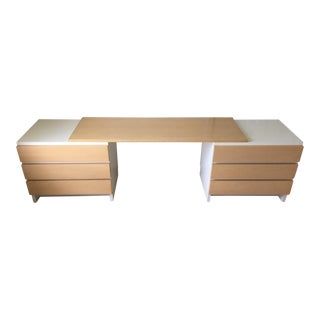 Mid-Century Finnish Muurame Modular Desk With Two 3-Drawer Chests & Long Board