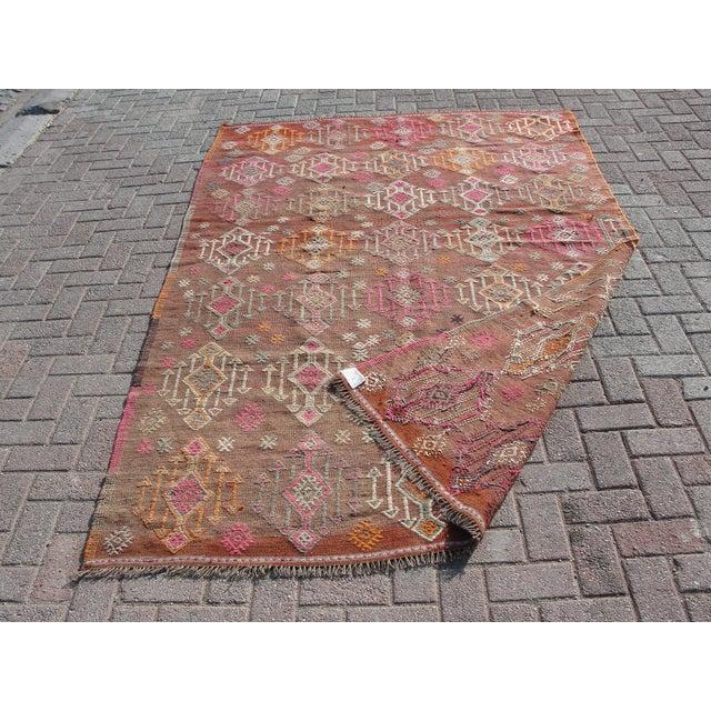 Vintage Turkish Kilim Rug - 5′5″ × 8′8″ For Sale - Image 11 of 11