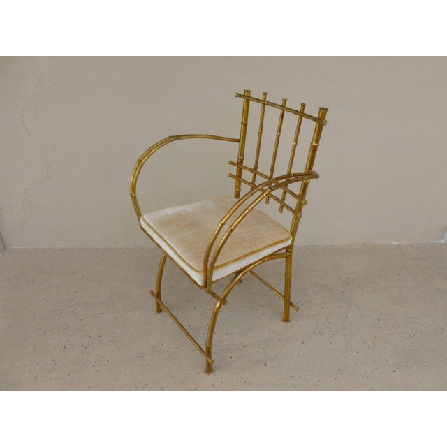 1960s 1960s Vintage Italian Hollywood Regency Style Faux Bamboo Armchair For Sale - Image 5 of 5