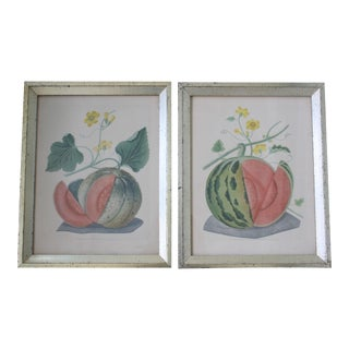 Antique Borghese Botanical Melon Prints in Silver Gilt Frames - a Pair For Sale