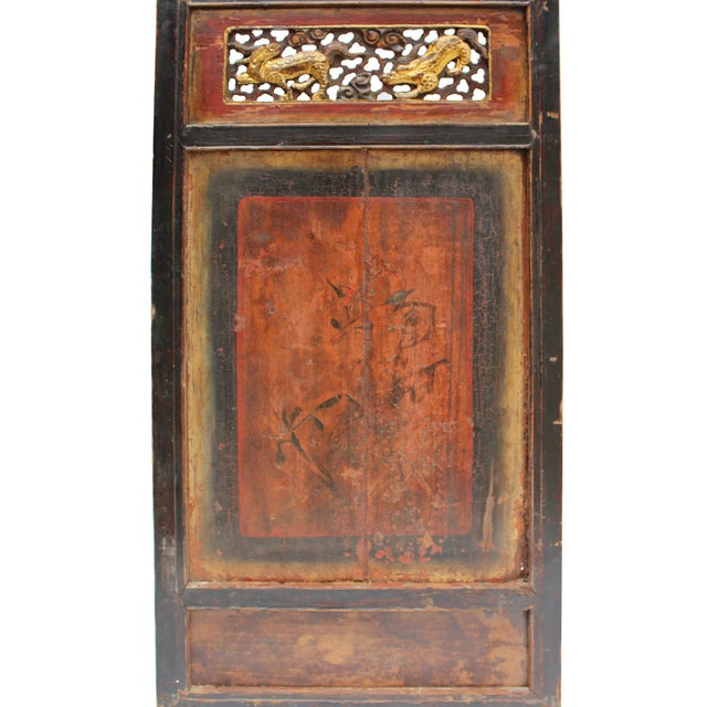 1940s Chinese Gold Red Brown Graphic Carving Wood Decor Panel For Sale - Image 5 of 7