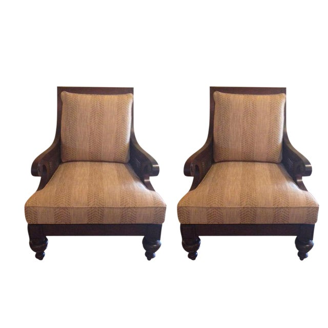 Ethan Allen Rattan & Cherry Wood Accent Chairs - A Pair - Image 1 of 6