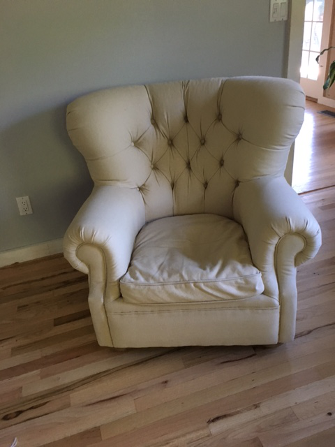 Textile Restoration Hardware Churchill Upholstered Chair And Ottoman For  Sale   Image 7 Of 7