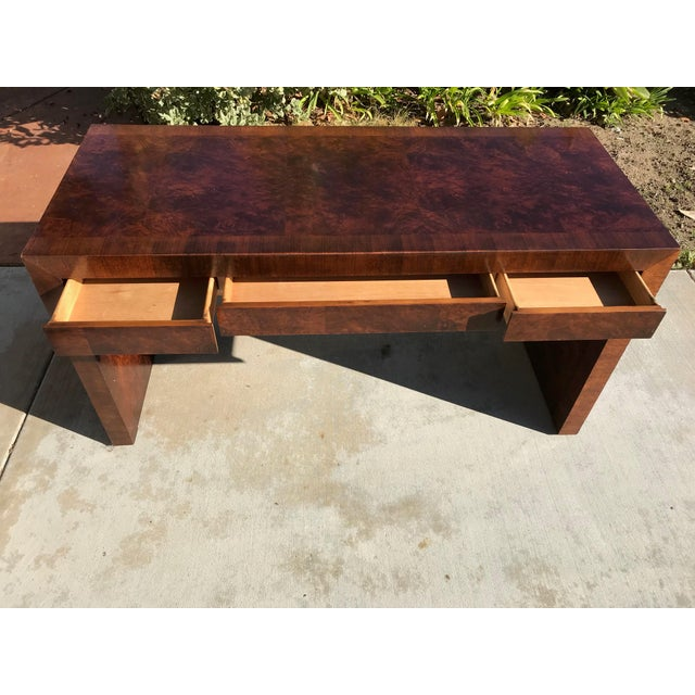 Vintage Burl Wood Parsons Writing Desk by Hekman Furniture Company For Sale In San Diego - Image 6 of 12