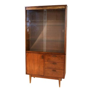 Mid Century Walnut China Cabinet For Sale