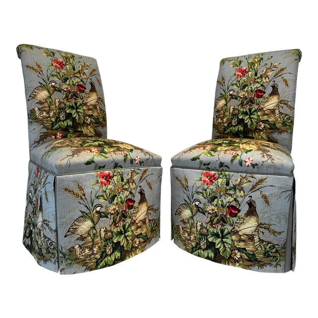"Scalamandré Fabric ""Edwin's Covey"" Parsons Chairs- A Pair For Sale"