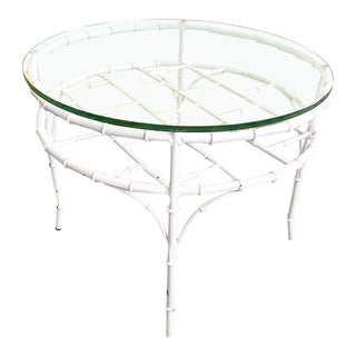 Italian Faux Bamboo Round Cocktail Table Painted White For Sale