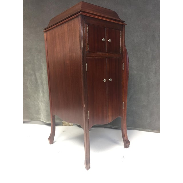 antique victrola wood record player cabinet chairish 87976