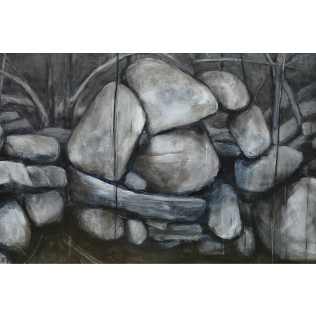 2000s Large Painting of a Stone Wall For Sale - Image 5 of 11