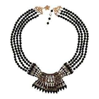 Vendome Smoke Gray and Black Art Deco Revival Necklace For Sale