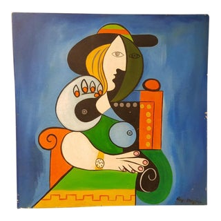 1938 Vintage Ray Martinez Oil on Canvas Painting For Sale