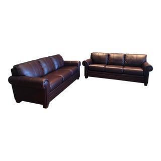 21st Century Ethan Allen Archer Leather Sofas For Sale