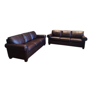 21st Century Ethan Allen Archer Leather Sofas- a Pair For Sale