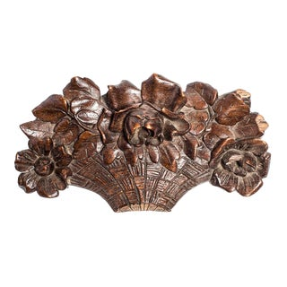 CARVED ENGLISH FLOWER BASKET For Sale