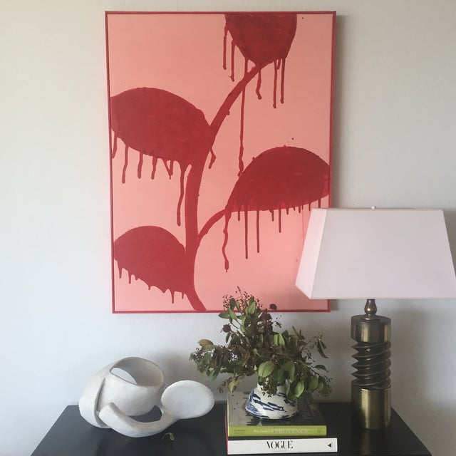 Abstract Framed Red Flowers on Pink, Dripping - Acrylic and Sand For Sale - Image 3 of 11