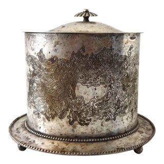 Mid 19th Century Antique Silver Plate Biscuit Barrel For Sale