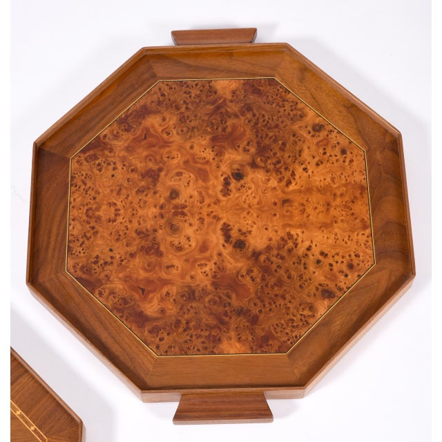 Mid-Century Modern Burlwood Barware or Serving Trays - a Pair For Sale - Image 10 of 11