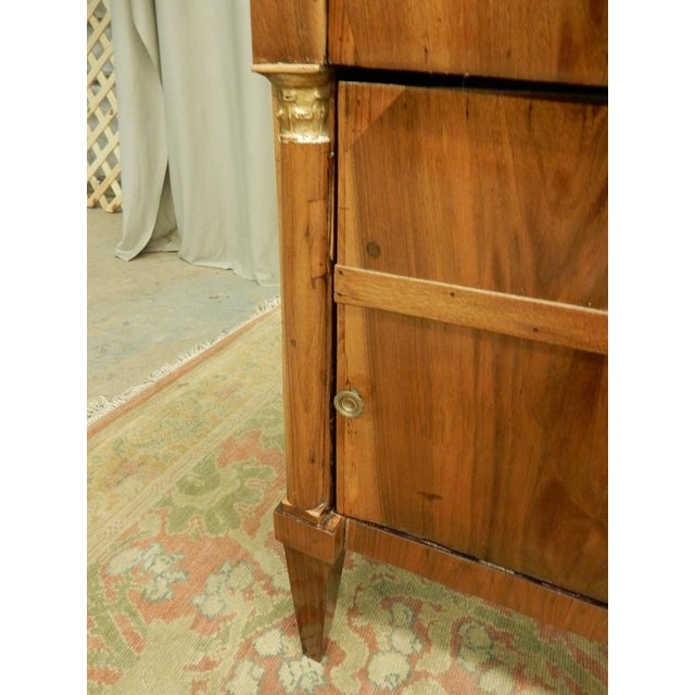 Brown Pair of French Empire Walnut Bedside Cabinets For Sale - Image 8 of 11