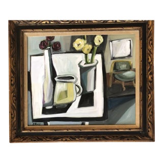 Original Stewart Ross Modernist Still Life Interior