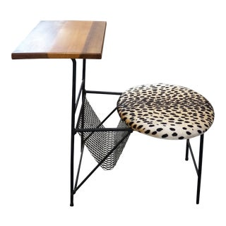 1960s Mid-Century Modern Leopard Patterned Phone Table For Sale