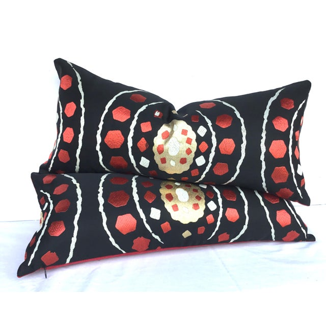 Japanese Abract Obi Pillows - A Pair - Image 7 of 7