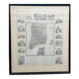 Mid 19th Century D H Burr Hand-Drawn New York City Map For Sale