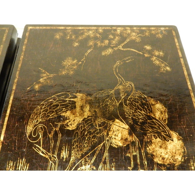 19th Century Chinoiserie Black Lacquered Coffee Tables - a Pair For Sale In New Orleans - Image 6 of 7