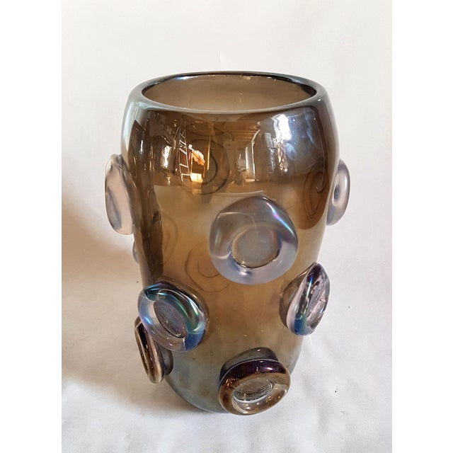 Hollywood Regency Large Mid Century Modern Brown & Purple Iridescent Vase, by Seguso 1970s For Sale - Image 3 of 8