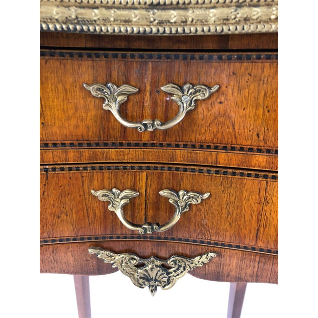 Exquisite Italian Kidney Shaped Inlay Mahogany Nightstand or End Table For Sale - Image 9 of 13