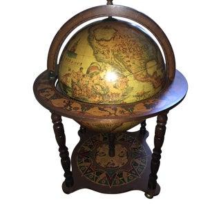 1950s Elegant Italian Portable Zodiac Decorative Floor Bar Cart Globe For Sale