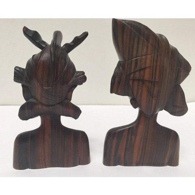 Balinese Hand Carved Wooden Busts Bookends - a Pair For Sale In Los Angeles - Image 6 of 11