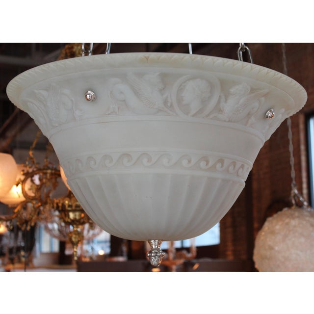Neoclassical Revival Antique Classical Glass Bowl Fixture For Sale - Image 3 of 10