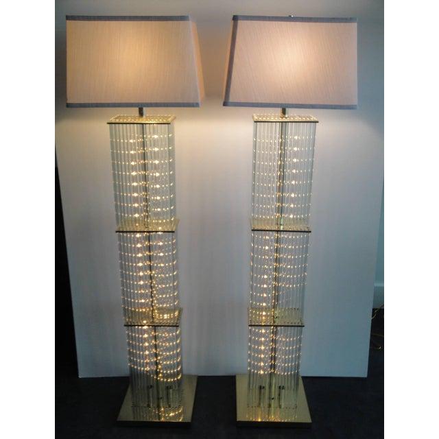 Superb pair of sciolari brass and glass floor lamps for lightolier pair of sciolari brass and glass floor lamps for lightolier image 2 of 9 mozeypictures Images