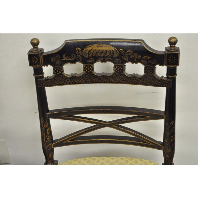 Fabric Pair of Antique Chinoiserie Oriental Japanned Black Painted Pagoda Side Chairs For Sale - Image 7 of 11