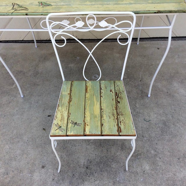 Vintage Woodard Metal and Bead Board Patio Set - Table and 4 Chairs For Sale In Sacramento - Image 6 of 13
