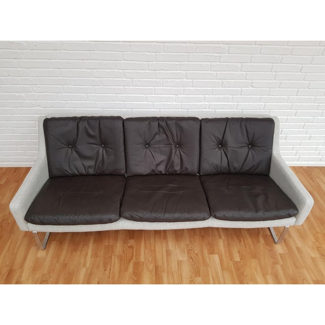 Unique Danish designed, very nice 3 seats sofa. Made in about 1970 by Danish furniture manufacturer. Original loose seat...