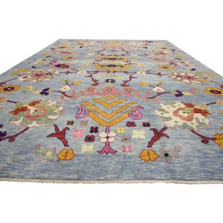 """Turkish Oushak Modern Style Floral Blue Area Rug - 10'7"""" X 14'8"""" Preview"""