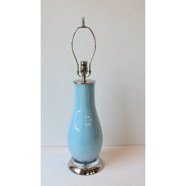 Pale Blue & White Swirl Glass Table Lamp - Image 2 of 6