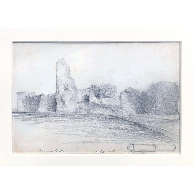English Traditional 19th Century English Graphite Landscape Drawing of Pevensey Castle Ruins 1855 For Sale - Image 3 of 8