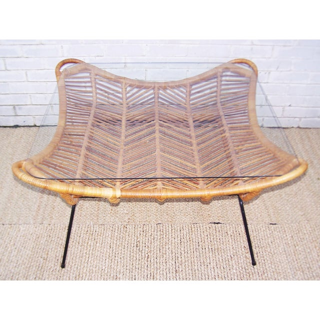 1960s Rattan, Iron & Glass Coffee Table - Image 4 of 10