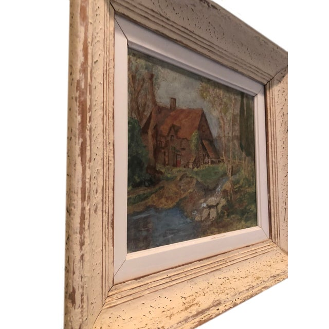 Late 20th Century Vintage French Oil Painting Landscape Thatched Roof Cottage For Sale - Image 5 of 7