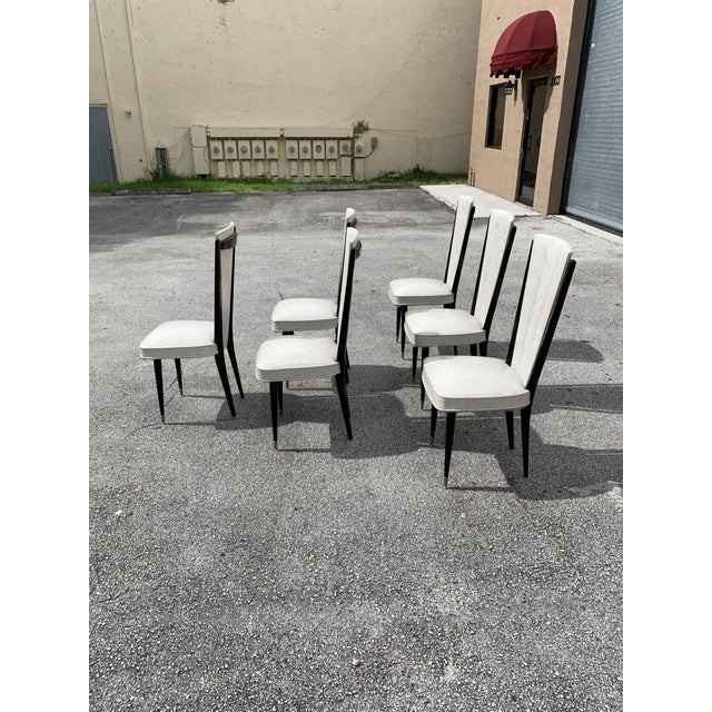 Brown 1940s Vintage French Art Deco Solid Mahogany Dining Chairs- Set of 6 For Sale - Image 8 of 12