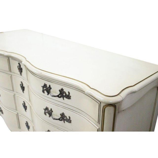 French Provincial French Provincial Cream & Gold Dresser For Sale - Image 3 of 3