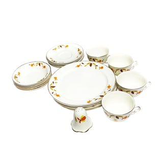 1940s Autumn Leaf Pattern Dining Set by Hall for the Jewel Tea Company - 17 Pieces For Sale