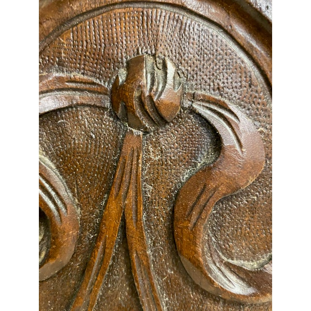 English English Antique Carved Plaque With Fruit Basket For Sale - Image 3 of 7
