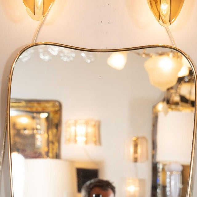 Contemporary Italian Amorphic Mid-Century Modern Atomic Bowed Shield Form Brass Mirror For Sale - Image 3 of 5